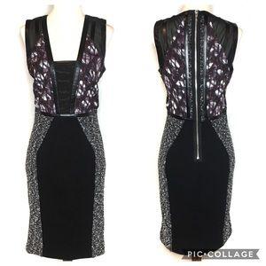 RACHEL ROY SHEATH DRESS BLACK FAUX LEATHER TRIM 2